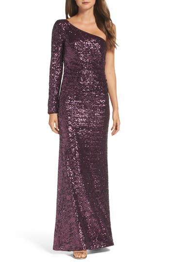 Vince Camuto Ruched Sequin One-Shoulder Gown, Purple