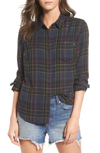Obey Elina Plaid Shirt, Black