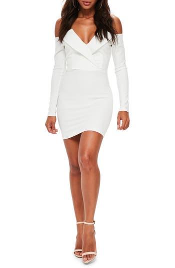 Missguided Bardot Foldover Body-Con Dress, US / 6 UK - White