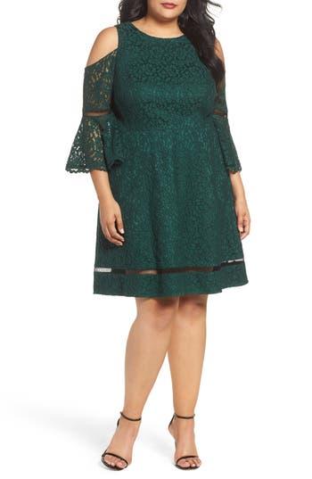 Plus Size Eliza J Cold Shoulder Lace Dress, Green