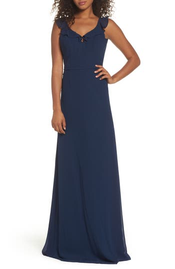 Monique Lhuillier Bridesmaids Keira Backless Chiffon Gown, Blue