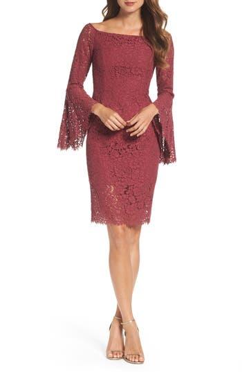 Bardot Solange Corded Lace Sheath Dress, Burgundy