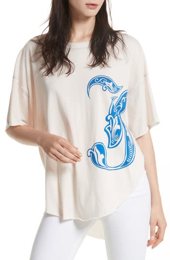 Free People Letter Graphic Tee, Blue