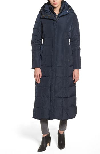 Cole Haan Quilted Coat With Inner Bib, Blue