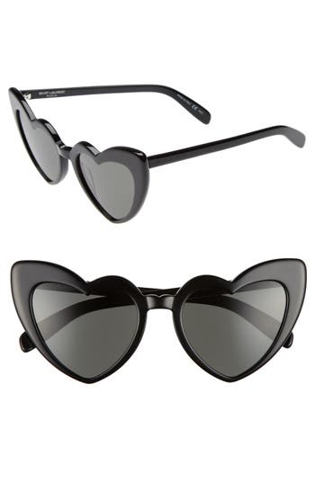Women's Saint Laurent Loulou 54Mm Heart Sunglasses - Black/ Grey