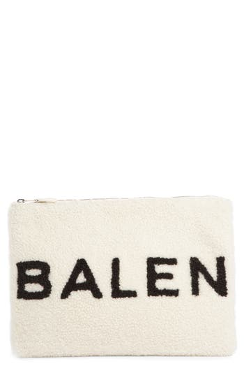 Balenciaga Genuine Shearling Pouch - White at NORDSTROM.com