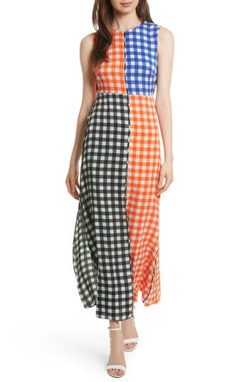Women's Diane Von Furstenberg Print Block Stretch Silk Maxi Dress
