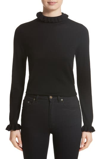 Shrimps Robin Frill Wool Sweater, Black