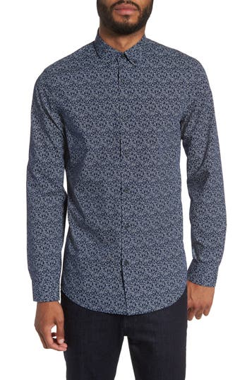 Men's Calibrate Slim Fit Print Sport Shirt