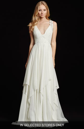 Hayley Paige Gwen Sleeveless Grecian Draped Bodice Chiffon Gown
