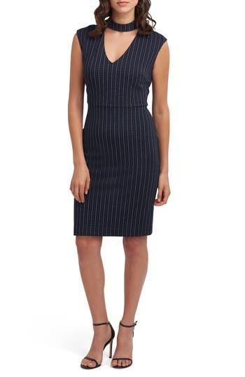 Eci Choker Sheath Dress, Blue
