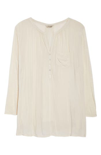 Plus Size Lucky Brand Mixed Media Top, Ivory