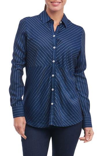 Foxcroft Hazel Pinstripe Shirt, Blue
