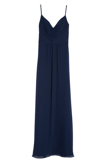 Hayley Paige Occasions Gathered V-Neck Chiffon Gown, Blue