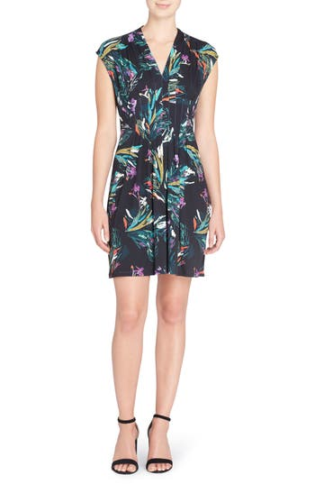 Catherine Catherine Malandrino Tinka Floral Print Fit & Flare Dress, Black