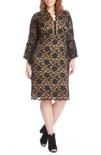 Plus Size Karen Kane Bell Sleeve Lace Shift Dress, Black