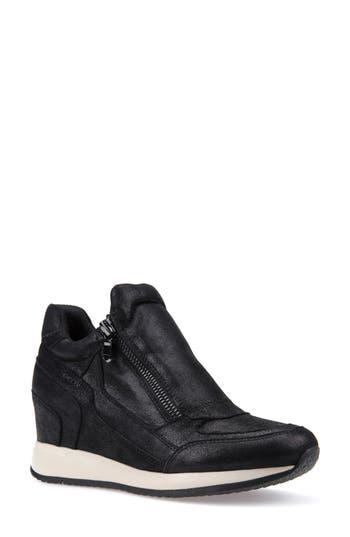 Geox Nydame Wedge Sneaker, Black