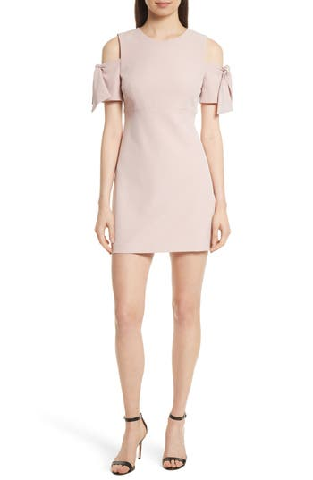 Milly Italian Cady Mod Tie Cold Shoulder Minidress, Pink