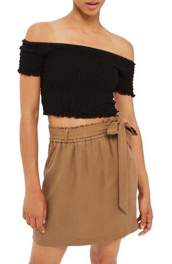 Topshop Paperbag Tie Waist Skirt, US (fits like 0) - Brown