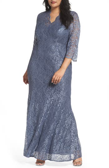 Plus Size Alex Evenings Lace Fit & Flare Gown, Grey