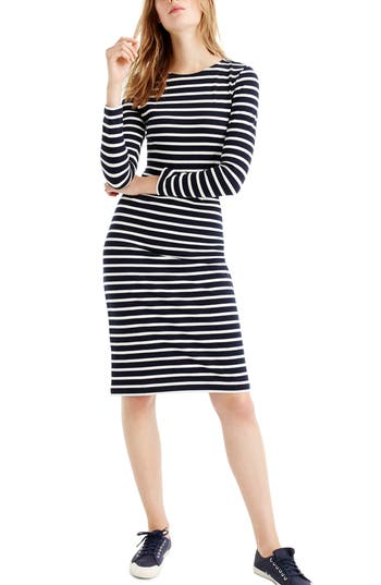 J.crew Stripe Long Sleeve Cotton Dress, Blue