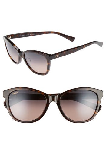 Maui Jim Canna 5m Polarized Cat Eye Sunglasses - Dark Tortoise/ Maui Rose