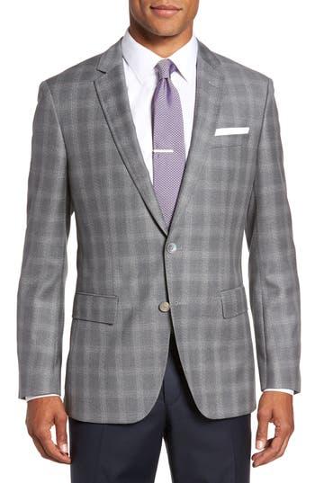 Boss Hutsons Classic Fit Check Sport Coat Grey