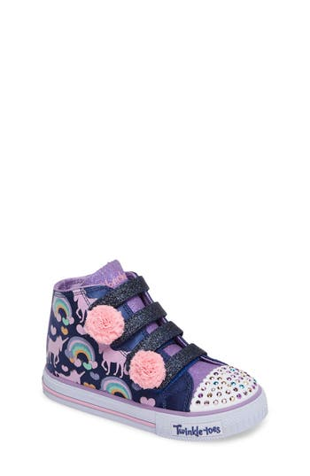 Toddler Girl's Skechers Twinkle Toes Shuffles High Top Sneaker