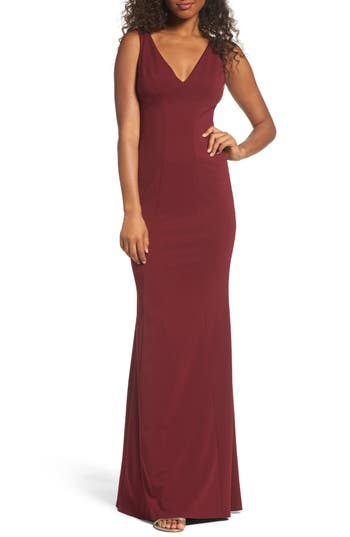 Katie May V-Neck Crepe Gown, Red