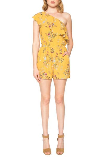 Women's Willow & Clay Ruffle One-Shoulder Romper, Size XX-Small - Yellow
