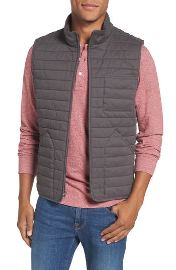 Big & Tall Nordstrom Shop Quilted Twill Vest, Grey