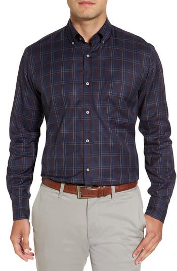 Men's Paul & Shark Silver Collection Windowpane Sport Shirt