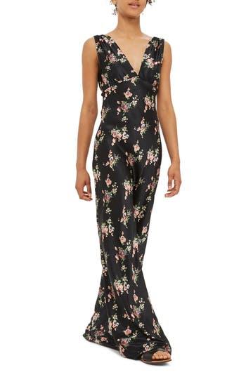 Topshop Ditsy Floral Print Maxi Dress, US (fits like 0) - Black