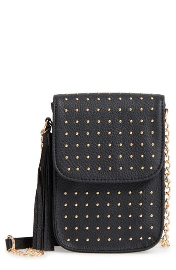 Amici Accessories Studded Faux Leather Phone Crossbody Bag - Black