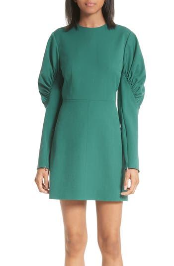 Tibi Florence Twill Minidress, Green