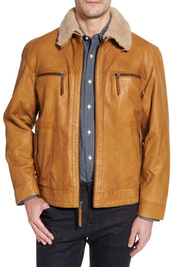 Men's Missani Le Collezioni Leather Jacket With Detachable Genuine Shearling Collar