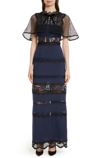 Self-Portrait Bellis Lace Cape Maxi Dress, Blue