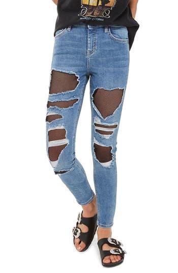 Women's Topshop Jamie Fishnet Rip Skinny Jeans