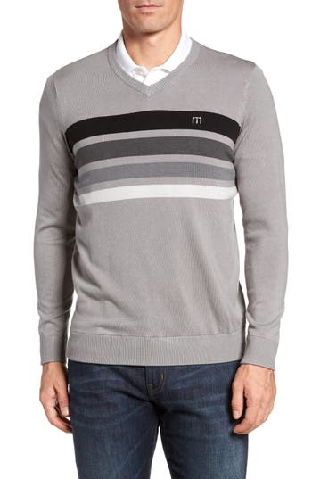 Men's Travis Mathew Lemkey Striped V-Neck Sweater, Size XX-Large - Grey