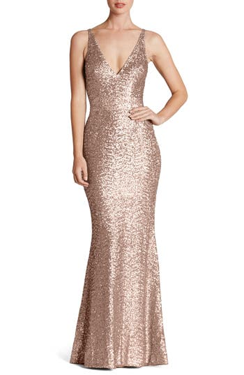 Dress The Population Harper Mermaid Gown, Metallic