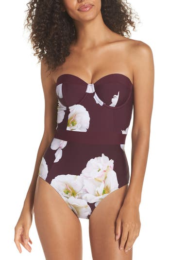 Ted Baker London Garciaa Gardenia Underwire One-Piece Swimsuit, C/D - Burgundy