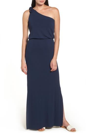 Bobeau One-Shoulder Maxi Dress, Blue