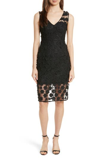 Milly Mari Floral Applique Sheath Dress, Black