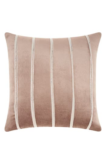 Mina Victory Stripe Velvet Accent Pillow, Size One Size - Beige