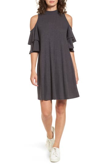 Women's Soprano Ruffle Cold Shoulder Shift Dress, Size X-Small - Grey