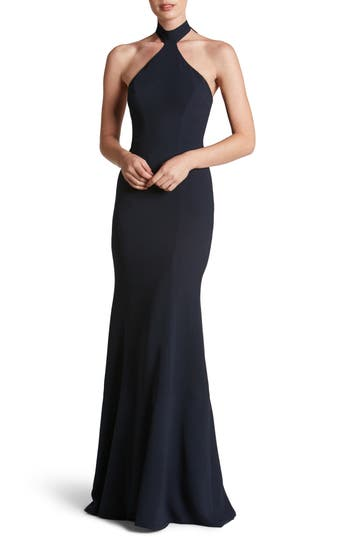 Dress The Population Taylor Crepe Halter Gown, Blue