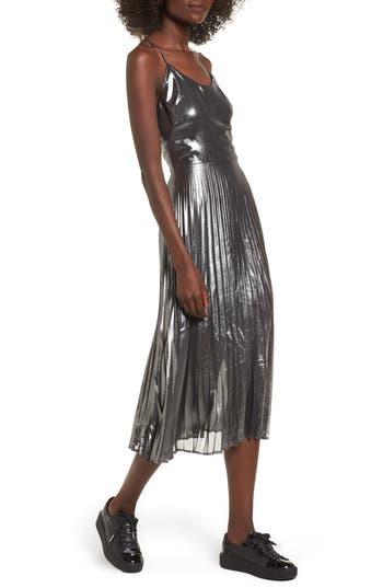 Love, Fire Metallic Pleated Midi Dress, Black
