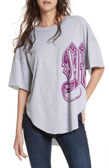 Free People Letter Graphic Tee, Purple