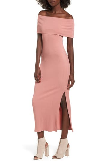 Women's Soprano Foldover Off The Shoulder Ribbed Maxi Dress, Size X-Small - Coral