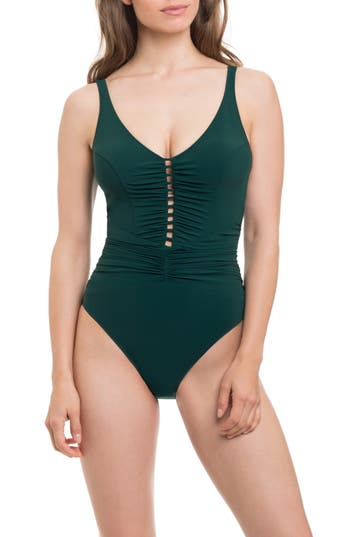 Profile By Gottex Cocktail Party One-Piece Swimsuit, Green